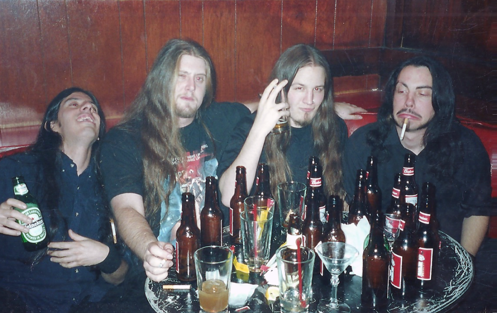 Raul Varela, Sean McGrath, Leon del Muerte, Ross Sewage and about twenty bottles of beer at the Ruby Room. This lineup of Impaled also played on the inaugural Summer Slaughter tour in 2001.