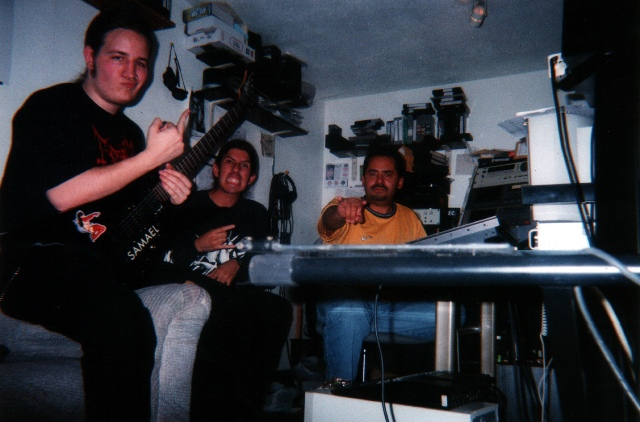 "Leon del Muerte, Raul Varela and Mauricio ""Moe"" Acevedo at the makeshift studio where The Dead Shall Dead Remain was tracked."