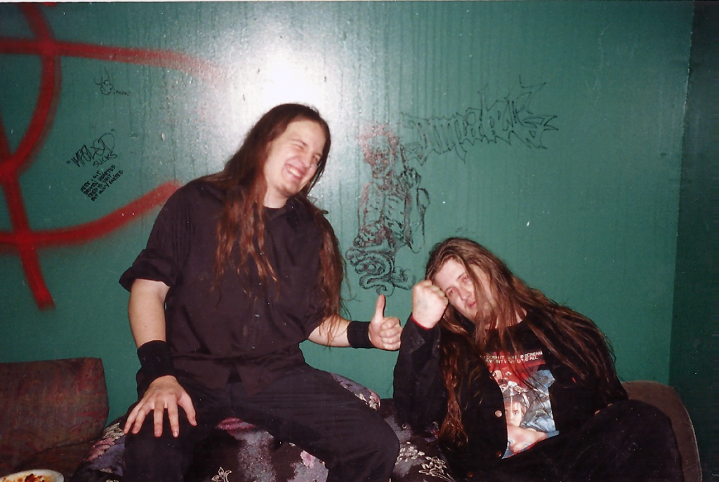 Leon del Muerte and Sean McGrath on tour in 2001. The two wrote the bulk of The Dead Shall Dead Remain together and were nearly inseparable throughout Impaled's early days.