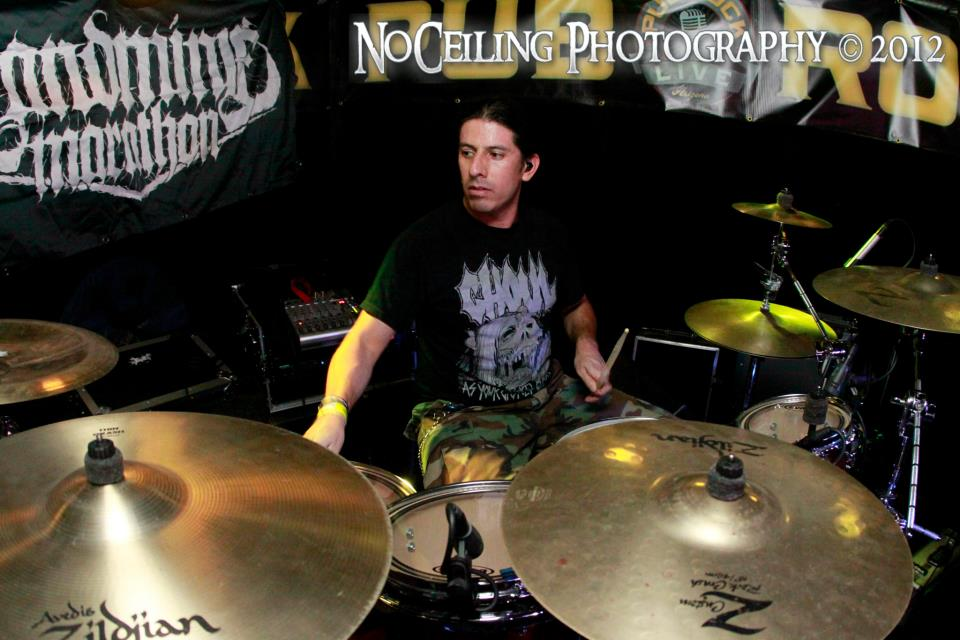 Raul Varela playing with Landmine Marathon. He and Landmine have toured several times over the past couple of years and are currently working on a new record.