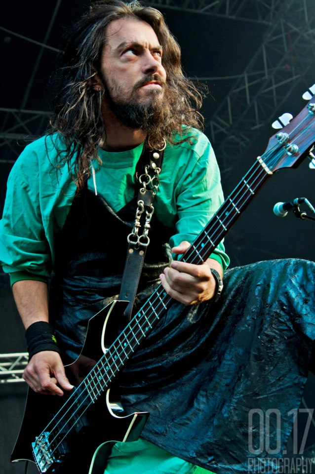 Ross Sewage onstage with Impaled on their 2011 European tour. His road resume features the likes of Phobia, Ludicra, Wolves in the Throne Room and Exhumed.