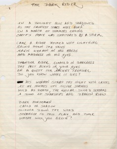 "Jean Schumacher's hand-written lyrics to ""Dark Rider"" off of Into Battle."