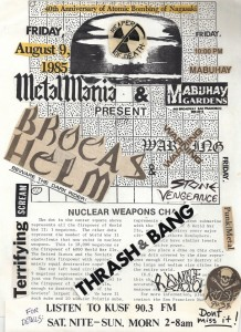 A flyer for one of many Bay Area heavy metal shows at the Mabuhay Gardens.